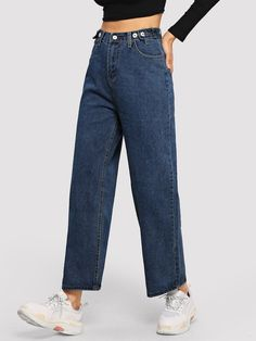 Blue Casual Denim Plain Fabric has no stretch All Jeans, size features are:Bust: ,Length: ,Sleeve Length: Ripped Knee Jeans, Wide Jeans, Cropped Wide Leg Jeans, All Jeans, Flare Leg Jeans, Denim Jeans, Types Of Jeans, Type Of Pants, Jean Types