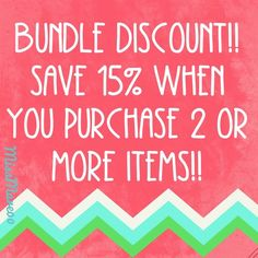 Bundle discounts are back in effect! Save 15% when you purchase two or more items!! Other