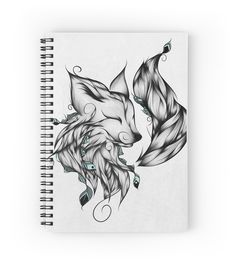 Fox B&W  by LouJah- #loujah #redbubble #art #notebook #spiralnotebook #boho #hipster