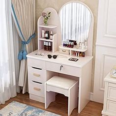 Modern Dressing Table with Mirror, Makeup Vanity Set with Dressing Stool, 4 Large Drawer and 3 Storage Shelves, Easy Assembly Dressing Table Mirror Design, Modern Dressing Table Designs, Simple Dressing Table, Dressing Table With Drawers, Dressing Table Storage, Bedroom Dressing Table, Dressing Stool, Furniture Dressing Table, Makeup Dressing Table