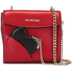 Love Moschino Heart Shoulder Bag ($185) ❤ liked on Polyvore featuring bags, handbags, shoulder bags, red, heart purse, heart shaped purse, heart handbag, shoulder bag handbag and red handbags