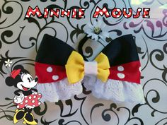 Minnie Mouse- Disney Inspired Bow (oh my goodness. This is so stinkin adorable! I have to make another Minnie bow now.w lace! Handmade Hair Accessories, Girls Hair Accessories, Disney Diy, Disney Crafts, Minnie Bow, Minnie Mouse, Diy Headband, Headbands, Disney Hair Bows