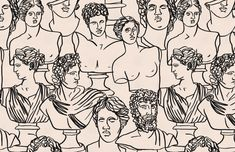 Black Line Drawing Greek Statue Wallpaper Mural   Hovia