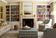 A French Provincial style fireplace in limestone for an interior by Adelaide Bragg & Associates. Bookshelves Built In, Built Ins, Book Shelves, Living Area, Living Spaces, Interior Decorating, Interior Design, Interior Styling, Beautiful Living Rooms