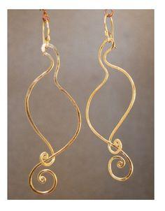 Nouveau 160 Hammered Swan Swirl Earrings by CalicoJunoJewelry, $46.00
