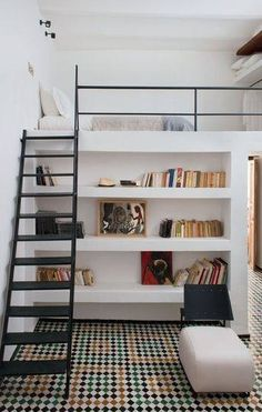 This is it! The best bed I've seen for H. Wonderful platform bed with shelving below, great for a bedroom or open plan living but necessary to have cavernous ceiling height. is there space above the ceiling in H's room?