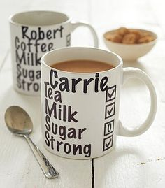 DIY porcelain writing! Customize coffee mugs with everyone's preferences!