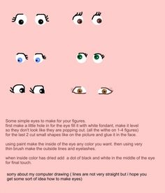 how to make eyes for your fondant figures By Liis on CakeCentral.com