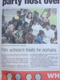 Delivering gifts to the boys orphanage in Bangalore as part of bPositive tour