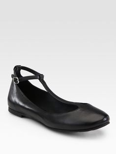 SEE by Chloé. Black Leather Tstrap Mary Jane Ballet Flats. From Brainy Mademoiselle http://www.bmoiselle.com/