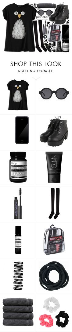 """""""The path of the stars-."""" by lookathebrightside ❤ liked on Polyvore featuring Illesteva, Squair, Aesop, NARS Cosmetics, Urban Decay, Hansel from Basel, Linum Home Textiles and Forever 21"""
