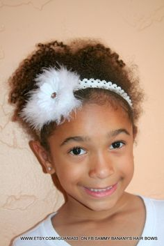 White Flower and Marabou Lace Headband by Sammy by iguania03, $7.99