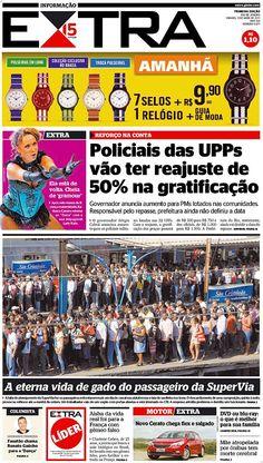 13-04-2013 - Capas do Jornal Extra - Primeira página do Jornal Extra do Rio - Extra Online