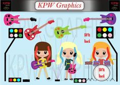 Little Rockstar Girls Clipart Set 2 in a PNG format. Personal & Small Commercial use Rock Star Theme, Bubble Machine, Girl Clipart, School Projects, 2 In, Commercial, Clip Art, Scrapbook, Invitations