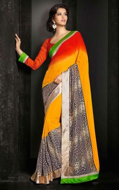 RED & YELLOW GEORGETTE LATEST SAREE - SIL 7115