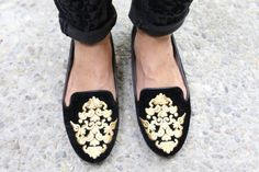 Zara embroidered slippers.