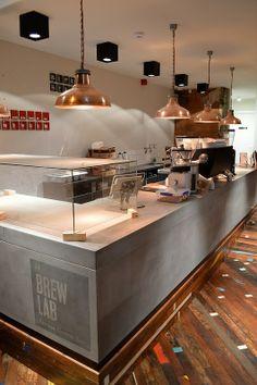 Brew Lab, artisan coffee on South College Street. Coffee Shop Counter, Cafe Counter, Coffee Shop Bar, Coffee Cafe, Coffee Shops, Cafe Bar, Cafe Shop, Deco Restaurant, Restaurant Design
