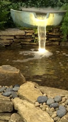A Spillway Bowl Fountain pours into this decorative water feature. Landscape Lighting and a Fogger add beauty and interest to this feature. Home Lighting, Outdoor Lighting, Outdoor Decor, Landscape Lighting, Water Features, Fountain, Koi Ponds, Water Gardens, Patio