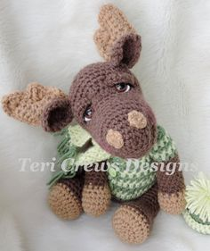 Moose Crochet Pattern Instant Download PDF by TeriCrewsCrochet