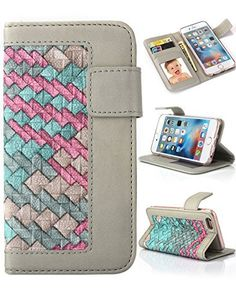 """iPhone 6s Plus Wallet Case, Crosspace® Textured Flip Durable PU Leather Magnetic Holster Hemming Weave Handbag with Card Holder Stand Cover Protective Shell for Apple Iphone 6/6s Plus 5.5""""-Colorful - http://leather-handbags-shop.com/iphone-6s-plus-wallet-case-crosspace-textured-flip-durable-pu-leather-magnetic-holster-hemming-weave-handbag-with-card-holder-stand-cover-protective-shell-for-apple-iphone-66s-plus-5-5-colorf/"""