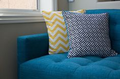 """DIY THROW PILLOWS: A new awesome couch, requires new awesome throw pillows! Here's how to make two super simple """"envelope"""" style pillow covers; one with piping, and one without. You'll need a few sewing basics: sewing machine, pillow insert, fabric, pins, and an iron. Let's get started: https://lifeimitatingartblog.squarespace.com/blog/2013/6/26/diy-throw-pillows"""