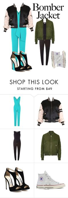 """""""Untitled #267"""" by tiakemp4368 ❤ liked on Polyvore featuring Moschino, Dorothy Perkins, Topshop, Converse and bomberjackets"""