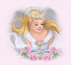 Penny's Place In Cyberspace ~ A Child's Angel ~ Angel Pictures, Cute Pictures, Penny Parker, Stationery Store, Man Images, Fb Covers, Graphic Design Illustration, Vintage Prints, Pink Roses