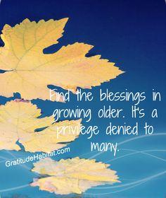 Find the blessings Visit us at: www.GratitudeHabitat.com #growing-old #blessings #gratitude