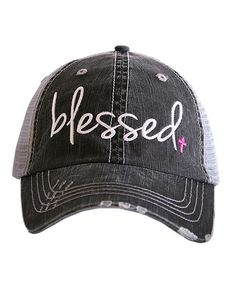 Love this Gray  amp  Pink  Blessed  Trucker Hat by Katydid Collection on   8bdf5414affb