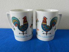 "Vintage Berggren Rooster Theme Folk Art Mugs | Etsy. ""Coffee maketh bright the spirit"" indeed!"