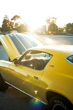 Hot yellow Chevy Camaro..