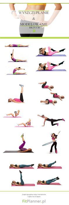 Ćwiczenia wyszczuplające i modelujące na płaski brzuch | FitPlanner.pl Trx, Total Body, Gymnastics, Cardio, Sporty, Exercises, Workouts, Health, Memes