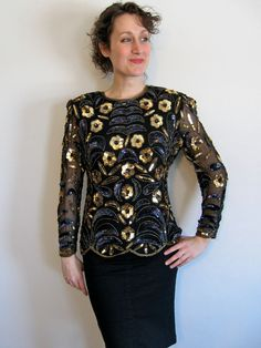 Silk Sequined and Beaded Blouse  Gold and Cobalt by AtticFlowers, $30.00