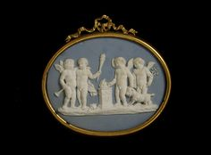 Sacrifice to Hymen Plaque - England, Britain  ca. 1778-1780 - Flaxman, John  (1755 - 1826)  Wedgwood and Bentley (manufacturer) Jasperware with white relief decoration and gilt metal