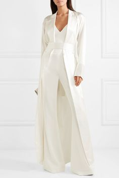 Brandon maxwell crepe flared pants net-a-porter. Bridal Jumpsuit, Brandon Maxwell, Tuxedo Dress, Satin Jackets, White Outfits, Mode Inspiration, Flare Pants, Fashion Advice, Marie