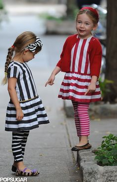 Sarah Jessica Parker's Adorable Twins Laugh, Skip, and Show Their Stripes : Tabitha and Loretta sported coordinating striped outfits with animal-print flats during their morning walk.