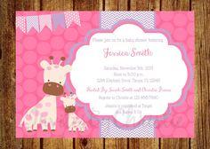Girl Giraffe Baby Shower Invitation- Digital File- DIY Printable - Chevron Pink and Purple Invitation, It's a Girl Baby Shower Invitation