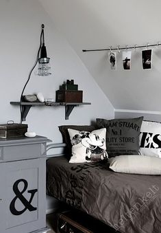 teen bedroom in monochromatic gray color scheme