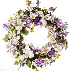 Violet and Magnolia Spring and Summer Wreath (SW807)