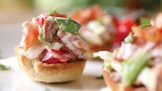 While a sandwich is the perfect home for the classic BLT, this variation mixes all the ingredients together and serves them up in neat little toast cups. Assemble all the ingredients, mix at the last minute and serve.