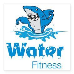"""TMac Water Aqua Aerobics Fi Square Sticker 3"""" x 3"""""""