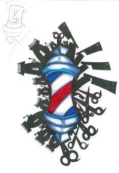 Barber pole and more. Tattoo for barbers. Royalty Tattoo, Hairdresser Tattoos, Pinterest Tattoo Ideas, Berber Tattoo, Rockabilly Tattoos, Vintage Tattoo Design, Tattoo Salon, Abstract Tattoo Designs