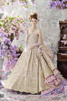 gold wedding dresses 2012