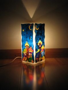 Christmas Candles, Table Lamp, Glass, Painting, Home Decor, Art, Paint, Table Lamps, Decoration Home