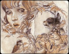 """Jeremy Hush """"Nature of Secrets"""" Ball point pen and Watercolor on moleskine"""