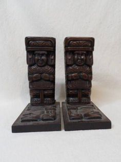 Aztec-Mayan-Tribal Carved Wood Bookends-Vintage Ethnic Book Ends-Figural Tabletop Book Display-Retro Home Decor-Orphaned Treasure-072617C by OrphanedTreasure on Etsy