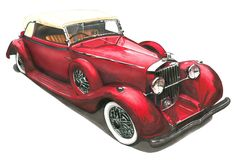Oldtimer Car Drawing with Copic / Touch Marker Car Drawings, Portfolio, Copic, Markers, Sketch, Touch, Cars, Creative, Artwork