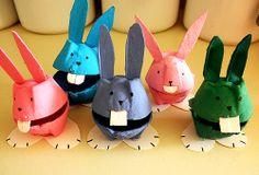 conejos de pascua de carton de huevos
