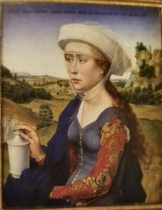What does she have in her hand? Apparently, her hair would be more fitting in Asia but not Europe and her head wear is also not typical and might be the imagination of Weyden.