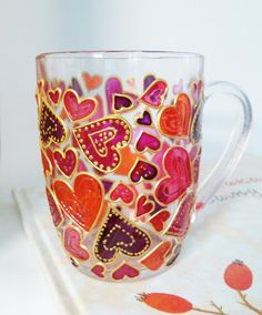 Pinks Hearts Mug Glass Coffee Mug Gift Mug Hand Painted Coffee Cup Gift for Her Coffee Cup Valentine's gift Glass Painting Designs, Stained Glass Designs, Glass Bottle Crafts, Bottle Art, Coffee Cup Art, Painted Coffee Mugs, Painted Wine Glasses, Glass Wall Art, Bottle Painting